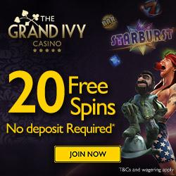 GrandIvy no deposit free spins 2016